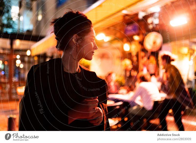 Stylish lady near street cafe Woman Style Hipster Street Café Tel Aviv Israel Night Hip & trendy Earring Evening Night life Youth (Young adults) Fashion Elegant