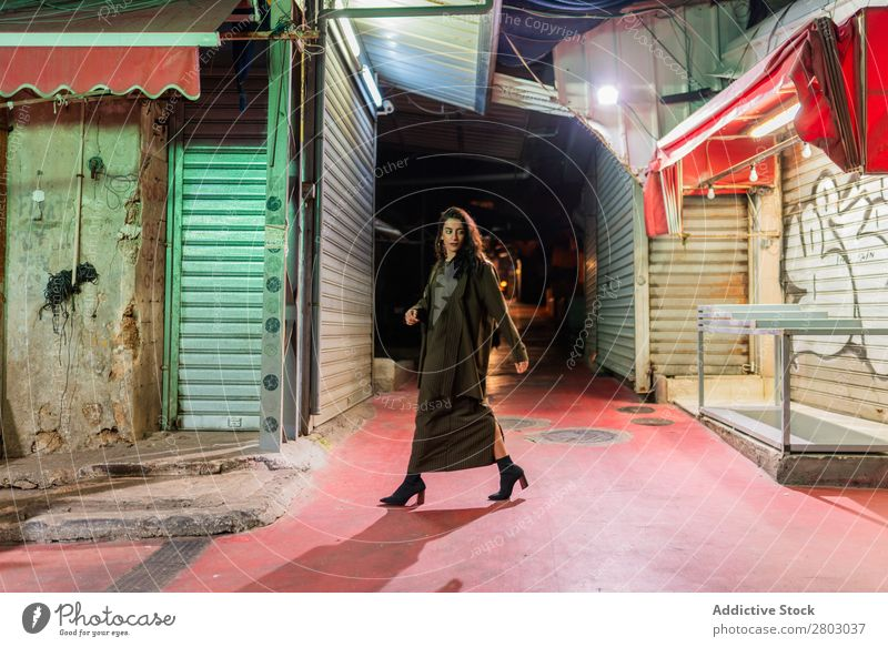 Attractive stylish lady walking on street at night Woman Style Hip & trendy Street Hipster Tel Aviv Israel Old Night Walking Evening Youth (Young adults)