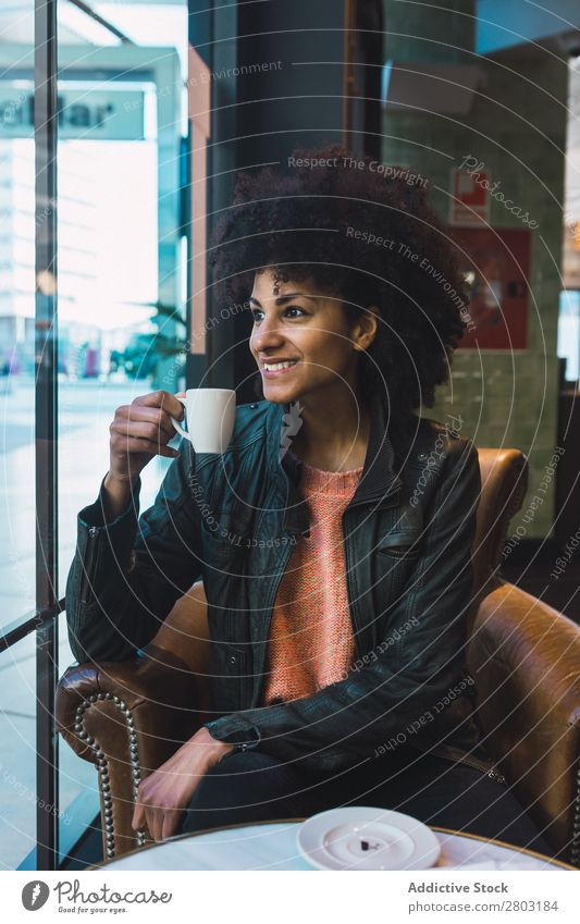 Black woman with afro hair drinking a coffee African Afro American Attractive Beautiful Beauty Photography Easygoing Coffee Cup Drinking Fashion Woman Girl