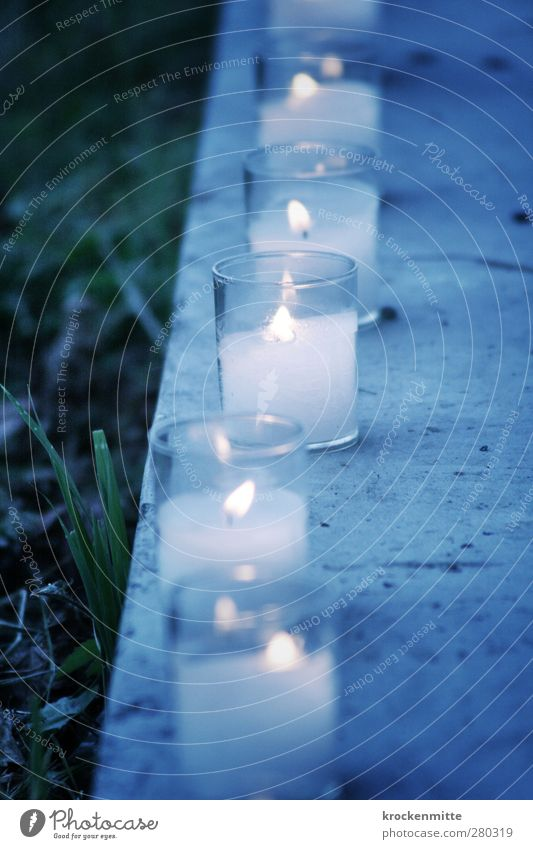 Blue Christmas & Advent Warmth Grass Lighting Feasts & Celebrations Moody Concrete Illuminate Hope Romance Transience Grief Candle Row Burn