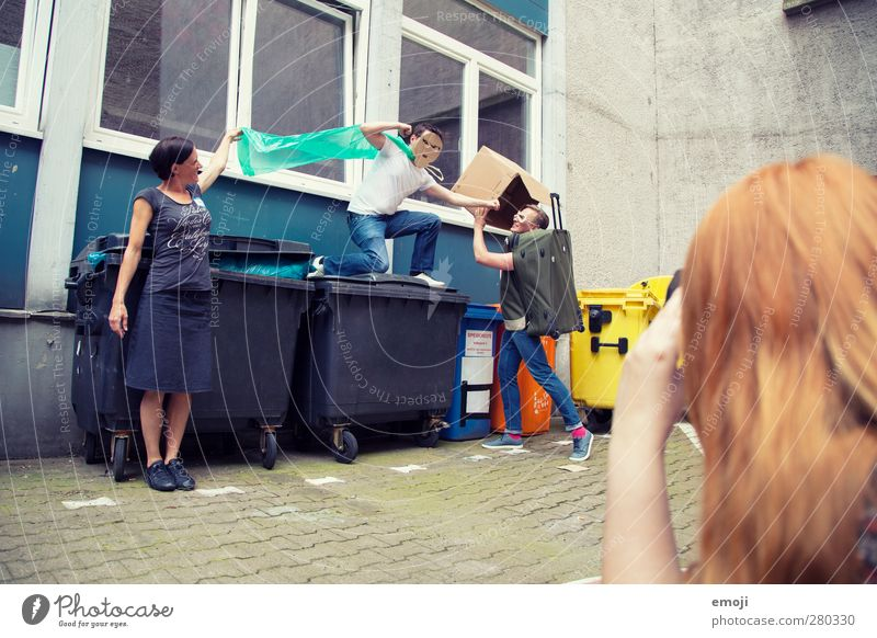 garbage collection Young woman Youth (Young adults) Young man Friendship 4 Human being Group 18 - 30 years Adults Happiness Funny Comical Funster