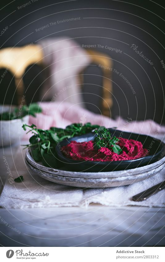 Hummus on plate Above Appetizer Apron arabic Background picture Red beet beetroot Chickpeas Cooking Delicious Diet Dip dipping eastern Food Healthy
