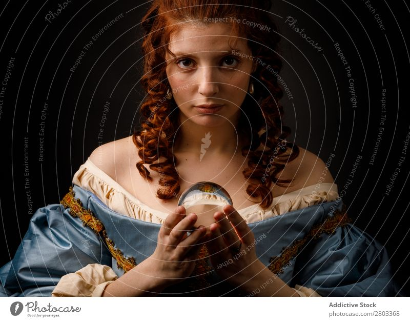 Baroque woman with glass ball Woman Red-haired Corkscrew Magic Ball Glass Dress medieval Carnival Renaissance Princess Royal masquerade divination prophecy