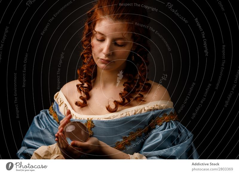 Baroque woman with glass ball Woman Red-haired Corkscrew Hold Magic Ball Glass Dress medieval Carnival Renaissance Princess Royal masquerade divination prophecy