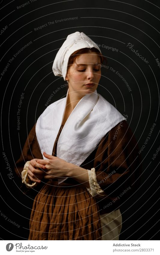 Medieval maid with closed eyes Woman Closed eyes Clothing Dress Costume Car Hood Renaissance Vintage