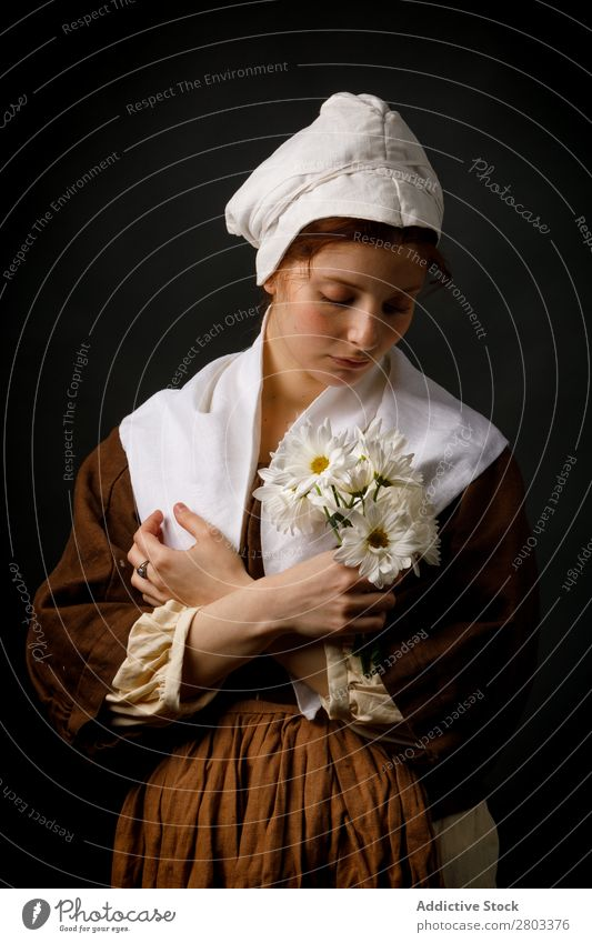 Medieval maid holding flowers medieval Red-haired Woman Hold Flower daisies Clothing historical Dress Costume maiden Car Hood Renaissance Vintage Retro peasant