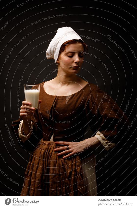 Medieval maid with glass of milk medieval Red-haired Milk Glass Woman Closed eyes Clothing historical Dress Costume maiden Car Hood Renaissance Vintage Retro