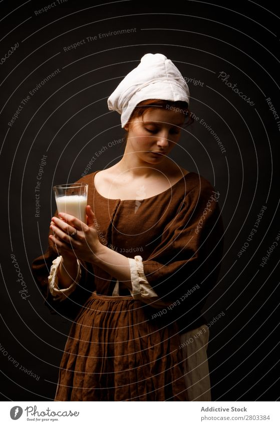 Medieval maid with glass of milk medieval Milk Glass Woman Closed eyes Clothing historical Dress Costume maiden Car Hood Renaissance Vintage Retro peasant