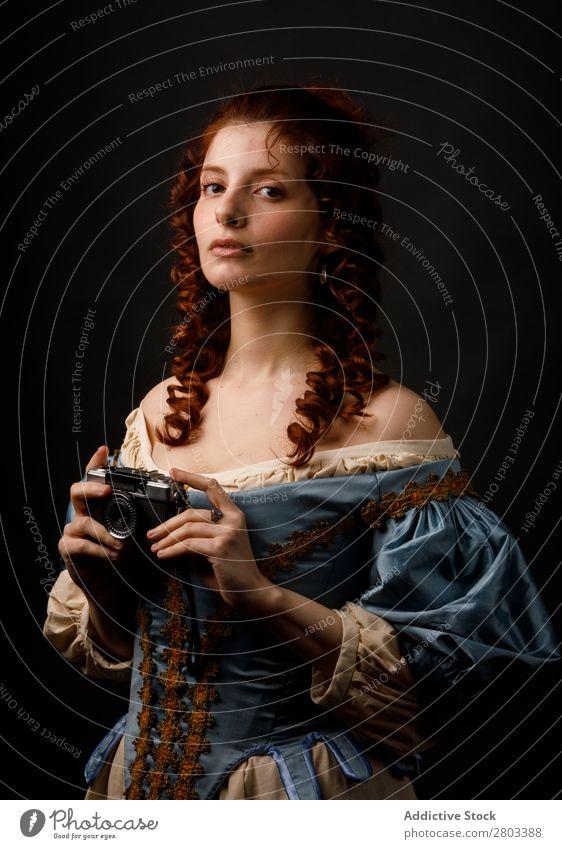Medieval woman with photo camera Woman Baroque Conceptual design Dress Carnival Renaissance Princess Royal