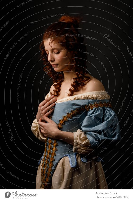 Beautiful woman in medieval clothing Woman Baroque Dress Red-haired Carnival Renaissance Princess Royal