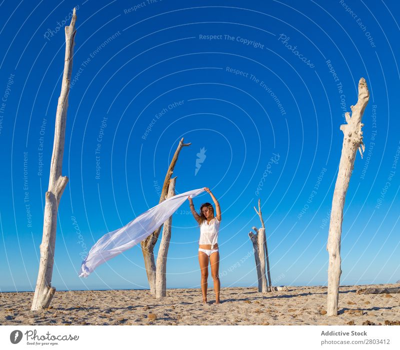 Woman with pareo on beach Beach Rest Summer Vacation & Travel Youth (Young adults) Relaxation Lifestyle Ocean Beautiful Trunk Blue sky Beautiful weather