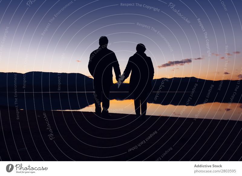 Anonymous couple standing near water during sunset Couple Coast Water holding hands romantic Sunset Evening Together Love Silhouette Vacation & Travel banyoles
