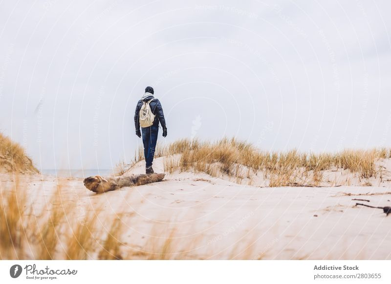 Man walking between sand field with dry grass Field Sand Grass Dry Walking Coat Hat Backpack Cold Landing Guy Going Nature Landscape Vacation & Travel Lifestyle