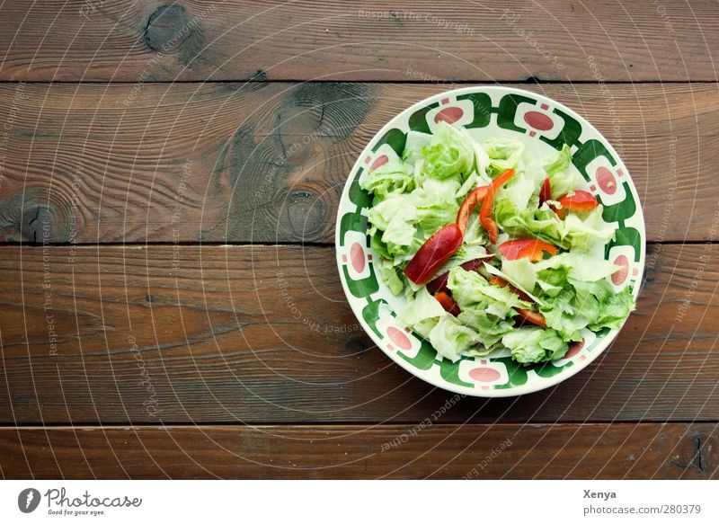 green stuff Food Lettuce Salad Nutrition Lunch Vegetarian diet Diet Bowl Wood Healthy Retro Brown Green Healthy Eating Deserted Copy Space left Day