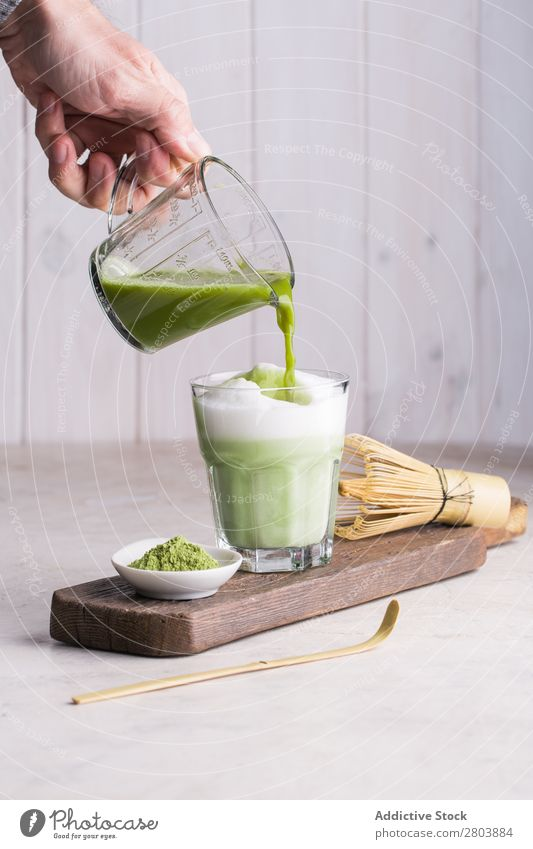 Matcha latte assorted Bamboo Beverage brew Drinking Green Hand Healthy Herbs and spices Japanese Man matcha matcha tea Milk Powder Scoop Portion Spoon Tea
