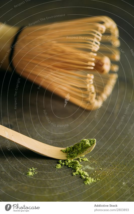 Green matcha tea powder and bamboo whisk assorted Bamboo Beverage brew Drinking Healthy Herbs and spices Japanese Powder Scoop Spoon Tea Teapot Water Beater