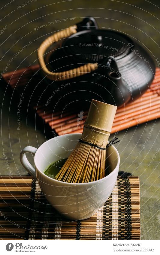 Preparing matcha tea assorted Bamboo Beverage brew Cup Dark Drinking Green Healthy Herbs and spices Japanese Powder Scoop Tea Teapot Water Beater Wood
