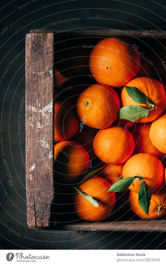 Fresh oranges in an old wooden box Breakfast citrus Delicious Drinking Fruit Healthy Juice Orange Organic Tasty Vitamin Wooden box Refreshment Sweet