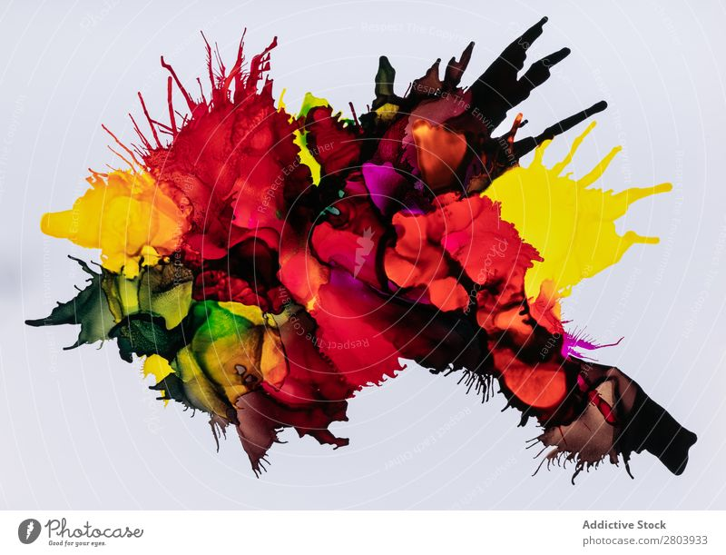 Mix of colorful paint Painting (action, artwork) Multicoloured Fat Abstract Art Liquid Ink stain Design Fluid Flow Spill Dye Bright Colour spectrum Creativity