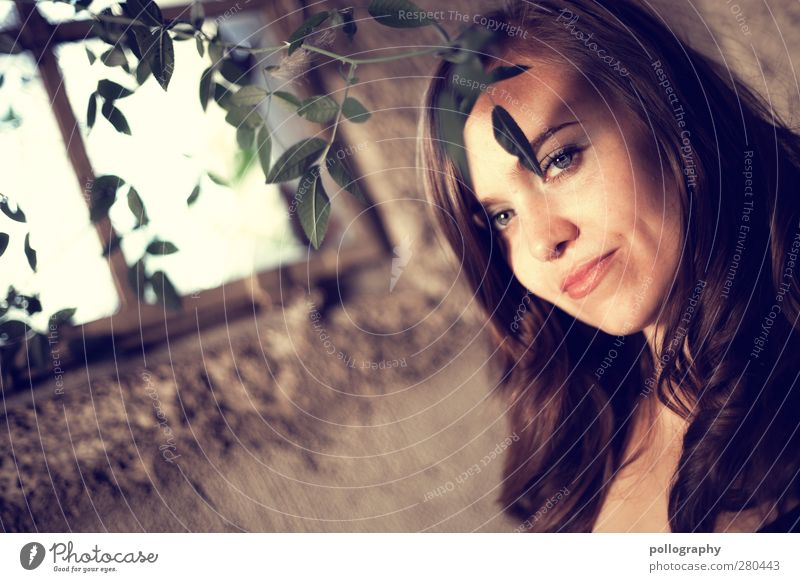 Human being Woman Youth (Young adults) Beautiful Summer Plant Adults Window Love Wall (building) Feminine Life Young woman Emotions Wall (barrier) Happy