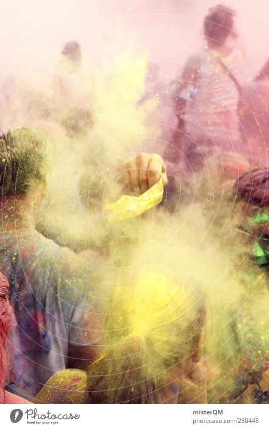 Youth (Young adults) Colour Joy Yellow Emotions Dye Party Art Dirty Crazy Esthetic Creativity Idea Music festival Romp Powder