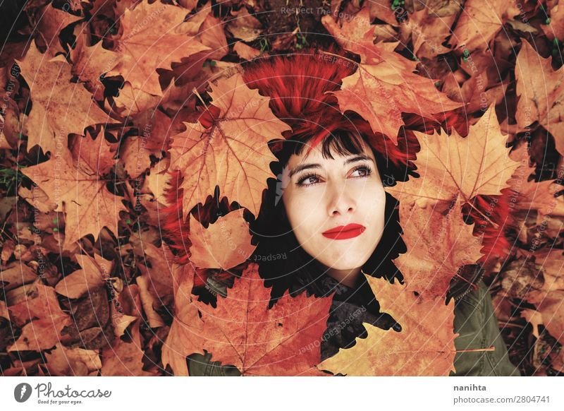 Young woman lying down in the floor full of autumn leaves Woman Human being Nature Youth (Young adults) Beautiful Red Leaf Calm Joy Healthy 18 - 30 years Face