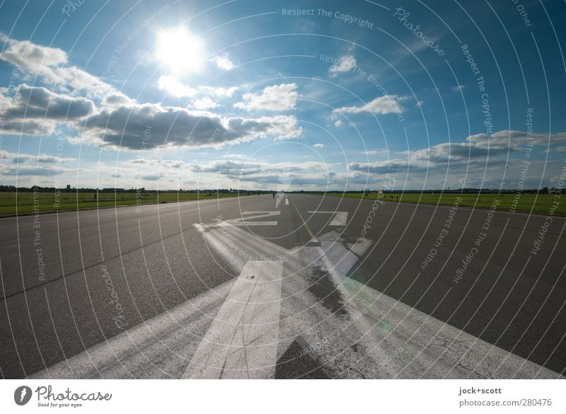 RWY 27 Well-being Sky Clouds Summer Beautiful weather Park Berlin Tourist Attraction Traffic infrastructure Aviation Airfield Runway Digits and numbers