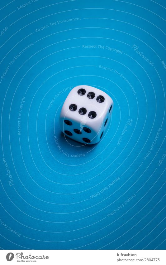 six Happy Leisure and hobbies Playing Toys Sign Looking Blue White Dice 6 Point Game of chance Throw dice Colour photo Interior shot Studio shot Close-up