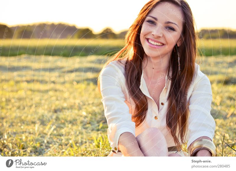 Summer days. :) Feminine Young woman Youth (Young adults) Woman Adults Head Hair and hairstyles 1 Human being Nature Sunlight Beautiful weather Grass Meadow