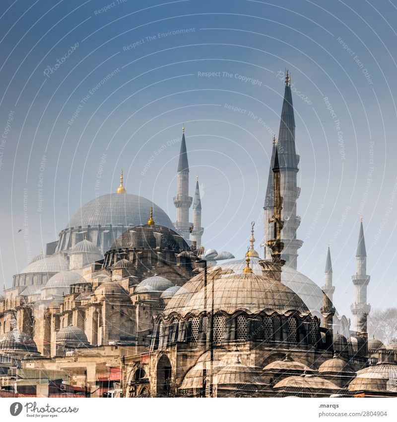 mosque Tourism Cloudless sky Summer Beautiful weather Istanbul Turkey Manmade structures Architecture Mosque Perspective Religion and faith Double exposure