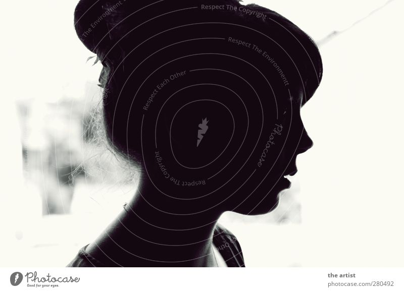 black and white Human being Feminine Young woman Youth (Young adults) Head 1 Black White Black & white photo Contrast Silhouette Profile Forward