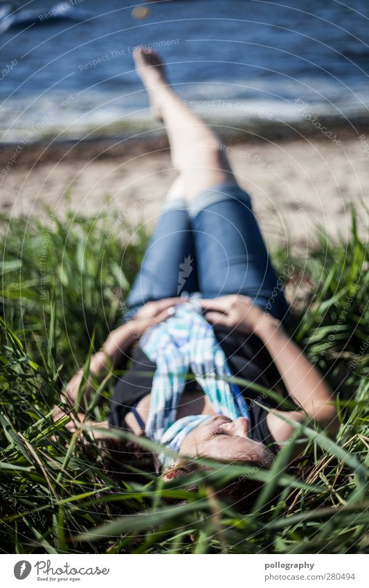 Human being Woman Nature Youth (Young adults) Water Plant Ocean Beach Loneliness Calm Adults Relaxation Feminine Life Young woman Grass