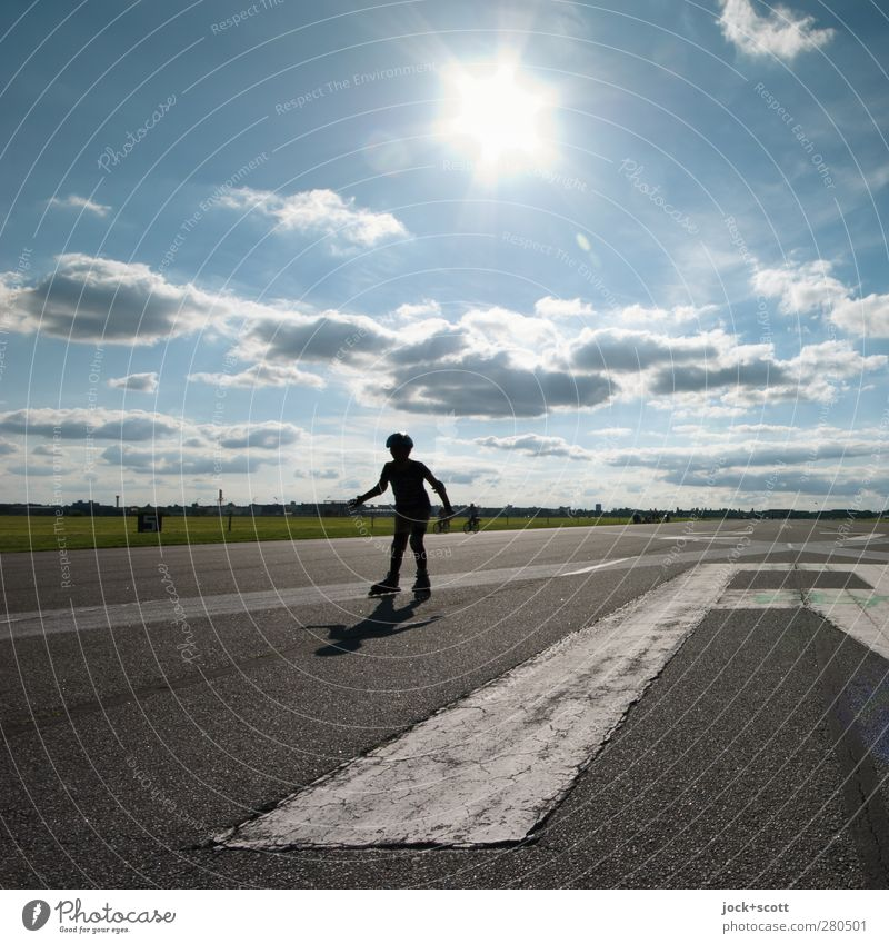 roller skating Inline skating Child 1 Human being Clouds Summer Beautiful weather Park Tourist Attraction Traffic infrastructure Runway Characters