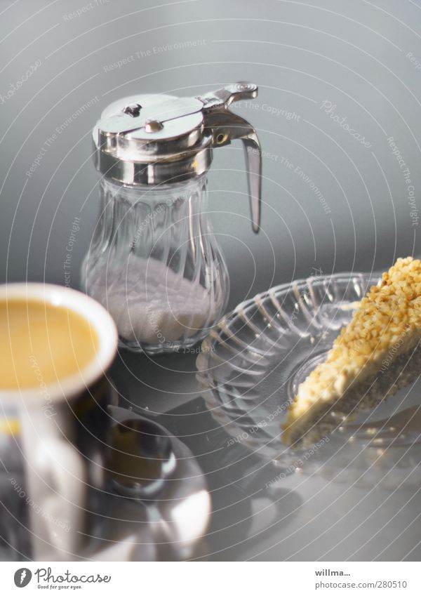 delicious cake Food Cake Candy Sugar Café au lait Gateau Piece of gateau Nutrition To have a coffee Coffee Plate Cup Glas plate Coffee cup Teaspoon Sugar bowl
