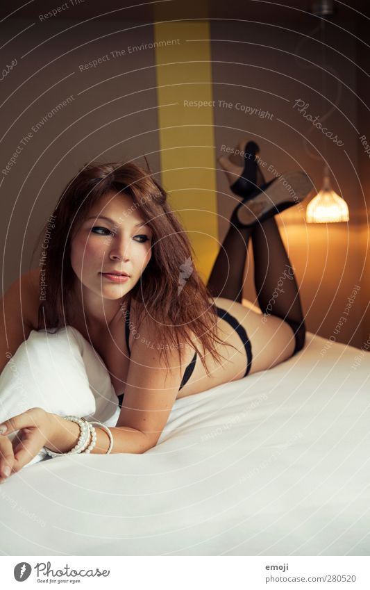 \\\ Feminine Young woman Youth (Young adults) 1 Human being 18 - 30 years Adults Stockings Underwear Brunette Eroticism Hotel room Colour photo Interior shot