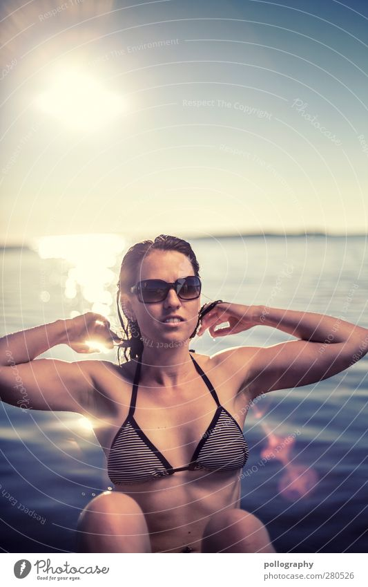 Human being Woman Youth (Young adults) Water Beautiful Summer Sun Ocean Joy Adults Environment Feminine Life Young woman 18 - 30 years Waves