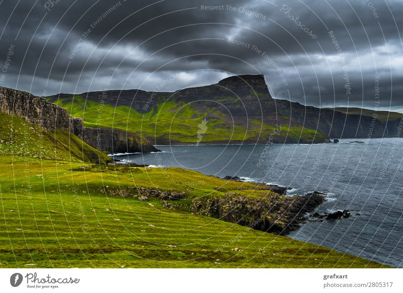Cliffs at Neist Point on the Isle of Skye in Scotland Atlantic Ocean Vantage point Mountain Geology Great Britain Highlands Climate Coast Landscape Picturesque
