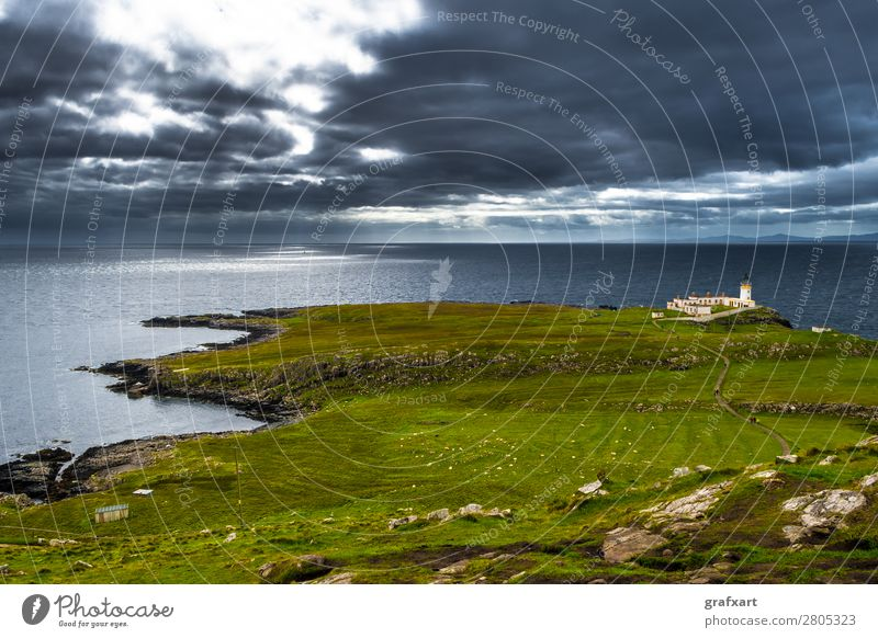 Lighthouse at Neist Point on the Isle of Skye in Scotland Adventure Atlantic Ocean Vantage point Building Past Great Britain Peninsula Western islands Highlands