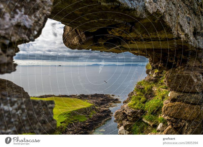 Stone windows in Duntulm Castle on the Isle of Skye Atlantic Ocean Vantage point View from a window Vista Window Flying Floating Flight of the birds Past