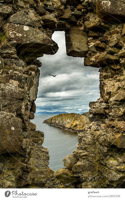Stone window at Duntulm Castle in Scotland Atlantic Ocean Vantage point View from a window Vista Window Flying Floating Flight of the birds Past Great Britain