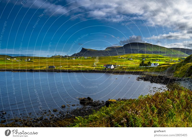 Landscape at the coast of the Isle of Skye in Scotland Atlantic Ocean Mountain Village Loneliness Relaxation Great Britain House (Residential Structure)