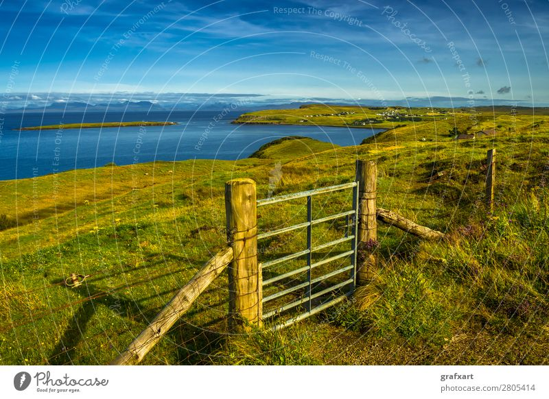 Closed gate on the Isle of Skye in Scotland Atlantic Ocean Way out Entrance Great Britain House (Residential Structure) Western islands Heather family Horizon