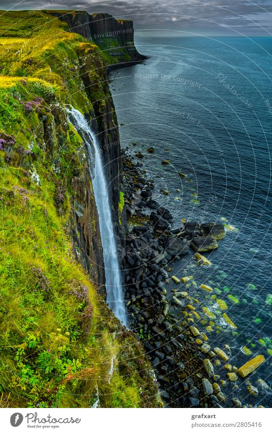 Waterfall at Kilt Rock on the Isle of Skye in Scotland Canyon Edge Atlantic Ocean To fall Flow River Great Britain Highlands Tall Horizon Island Kilt Skirt
