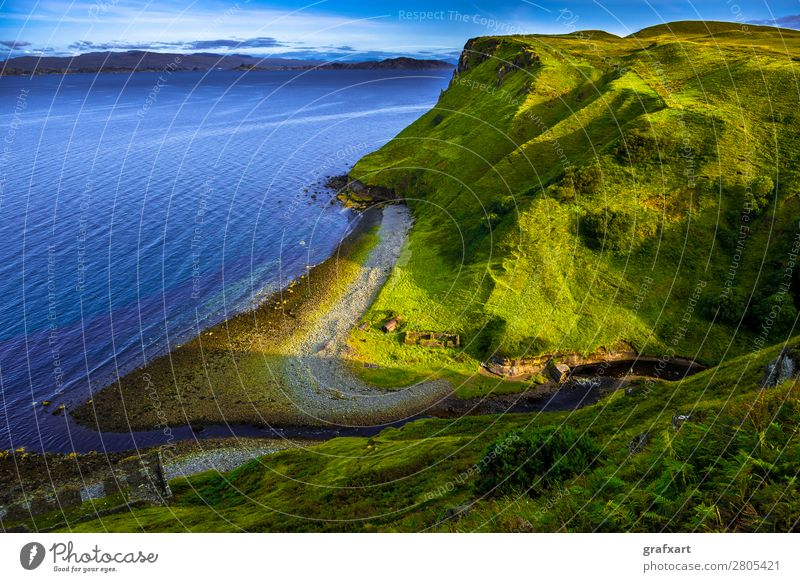 Coast with valley and river on the Isle of Skye in Scotland Atlantic Ocean Brook Canyon Flow River Great Britain Green Western islands Highlands