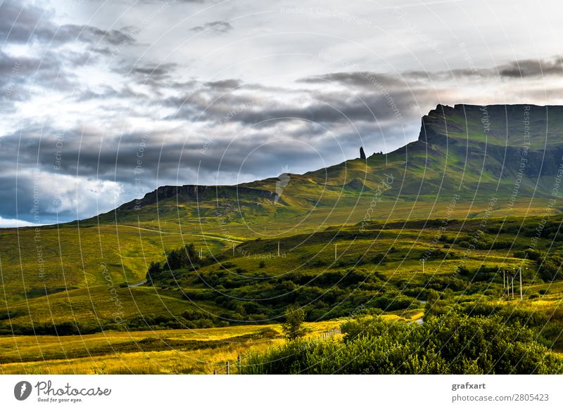 Old Man Storr Rock Formation on the Isle of Skye in Scotland Mountain Geology Stone Great Britain Western islands Highlands Background picture Tall Coast Rural