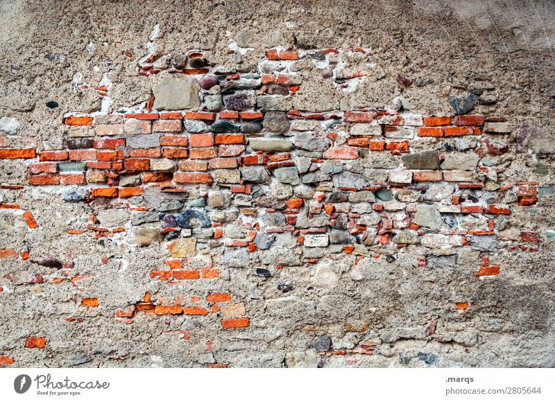 wall Wall (barrier) Wall (building) Brick wall Old Broken Transience Change Colour photo Exterior shot Deserted Copy Space left Copy Space right Copy Space top