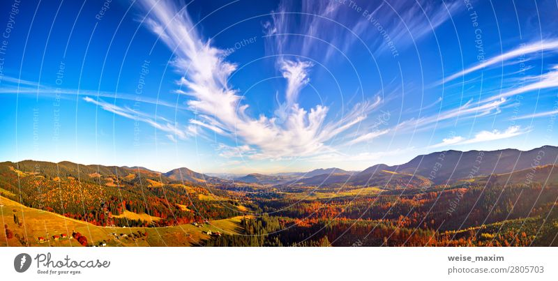Panoramic view of autumn mountain valley Sky Vacation & Travel Nature Beautiful Green Landscape Red Tree House (Residential Structure) Clouds Forest