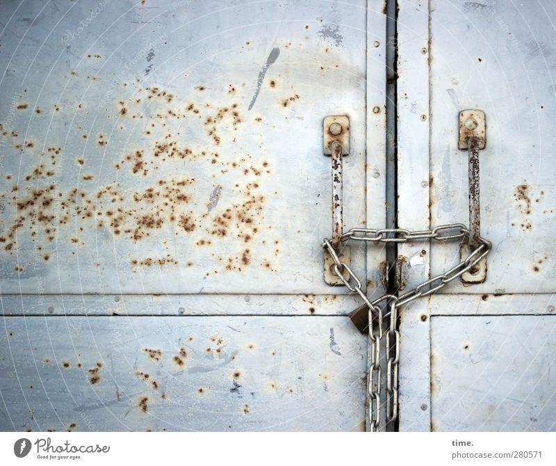 Senior citizen Metal Door Glittering Closed Authentic Gloomy Change Transience Dry Mysterious Creepy Gate Decline Rust Trashy