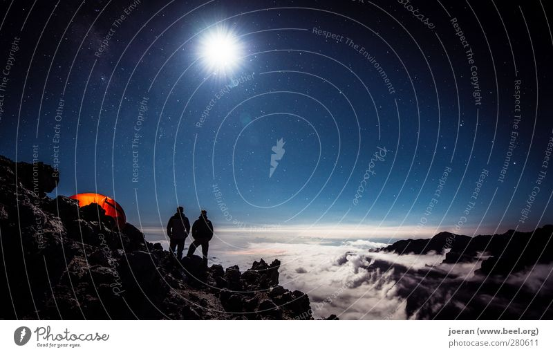Infinite widths (2) Camping Camping site Far-off places Hiking Environment Nature Landscape Earth Sky Night sky Stars Moon Full  moon Discover Dream Night shot