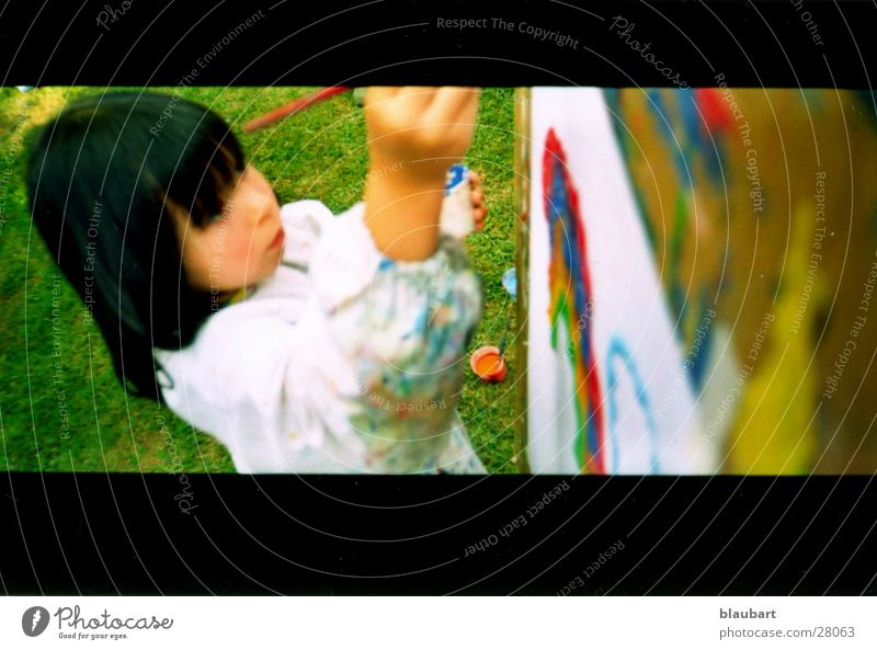 Child Summer Black Meadow Art Free Painting (action, work) Kindergarten Rainbow Smock Workwear